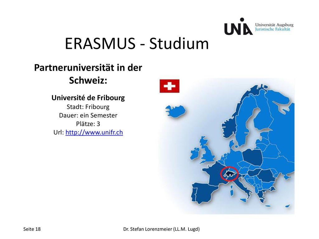 Partneruniversität in der Schweiz: Université de Fribourg