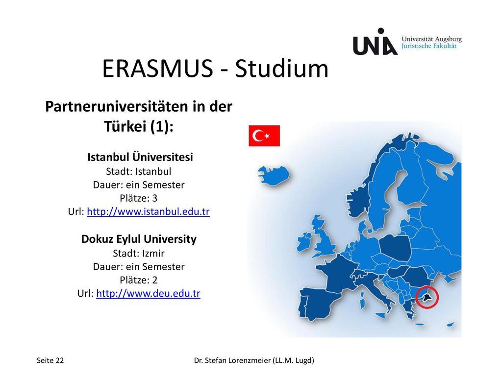 ERASMUS - Studium Partneruniversitäten in der Türkei (1):