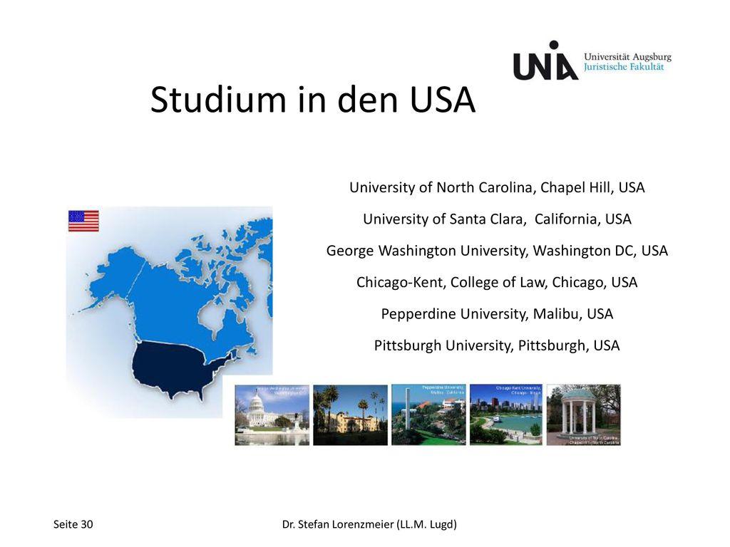 Studium in den USA University of North Carolina, Chapel Hill, USA