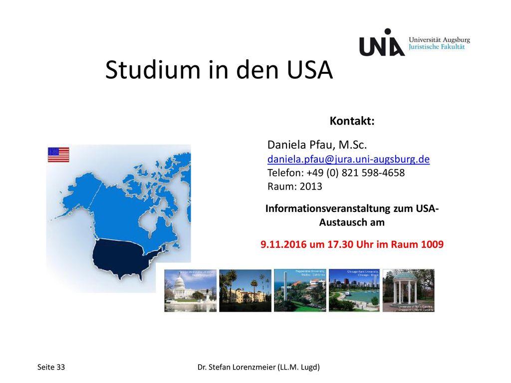 Informationsveranstaltung zum USA- Austausch am