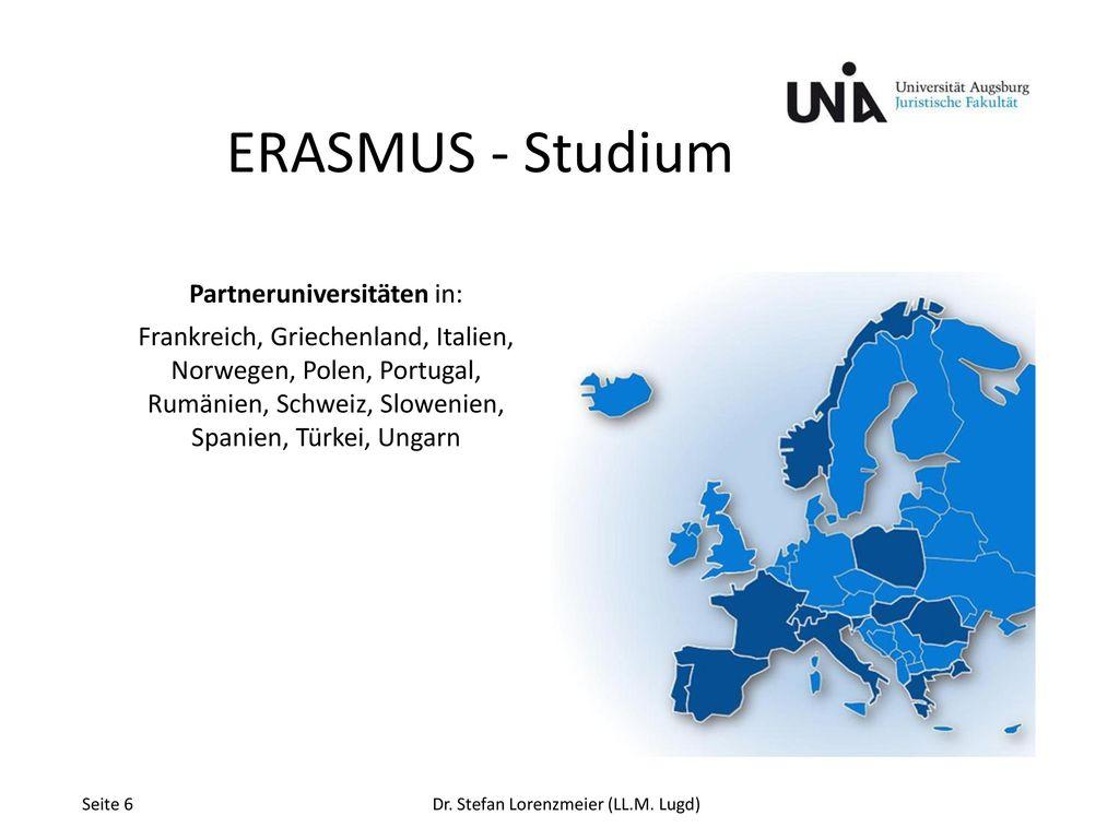 ERASMUS - Studium Partneruniversitäten in: