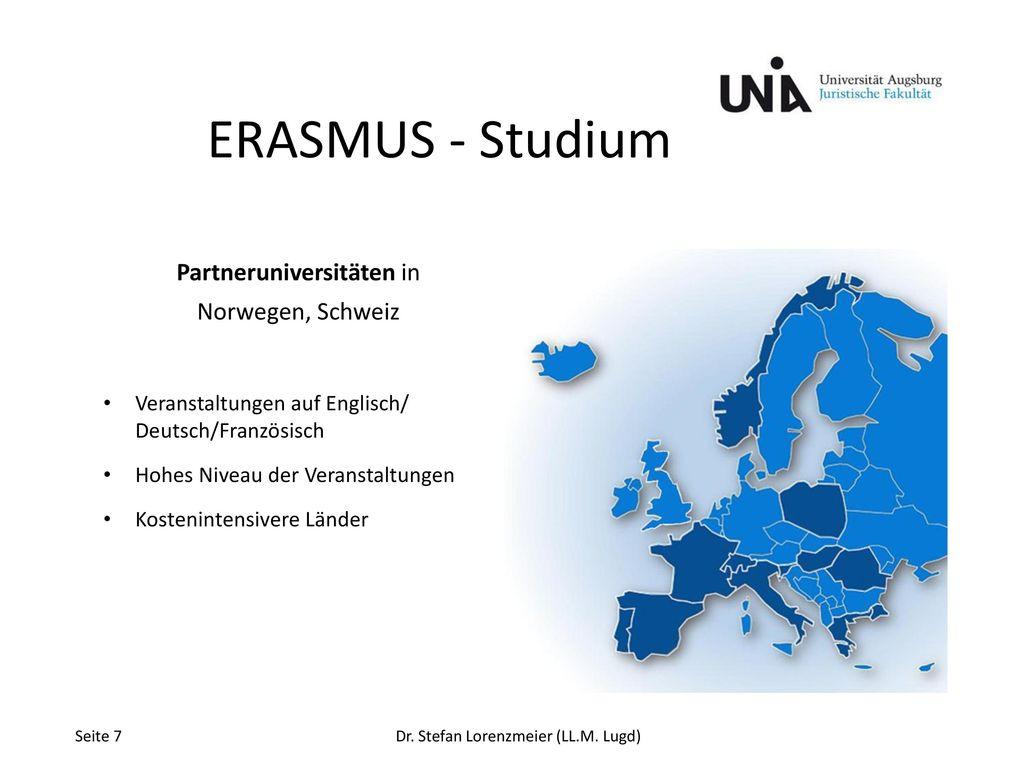 ERASMUS - Studium Partneruniversitäten in Norwegen, Schweiz