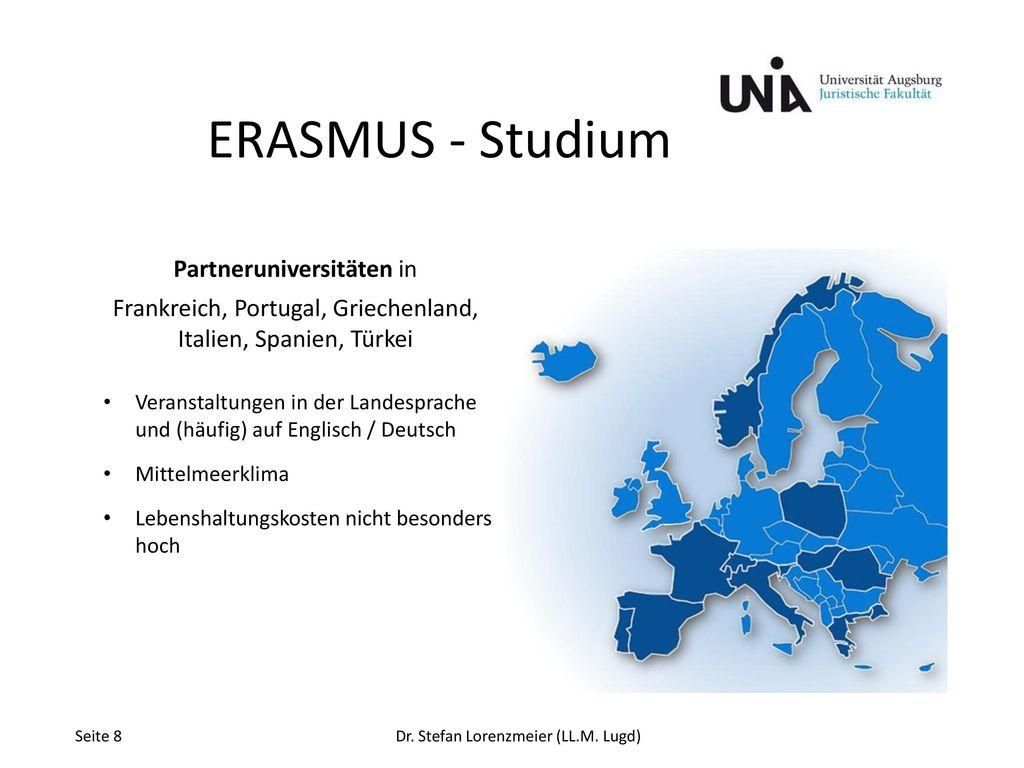 ERASMUS - Studium Partneruniversitäten in