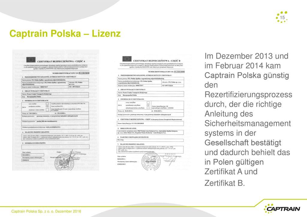 Captrain Polska – Lizenz