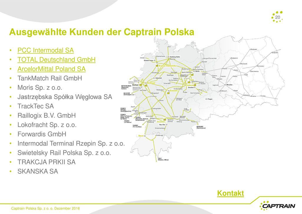 Ausgewählte Kunden der Captrain Polska