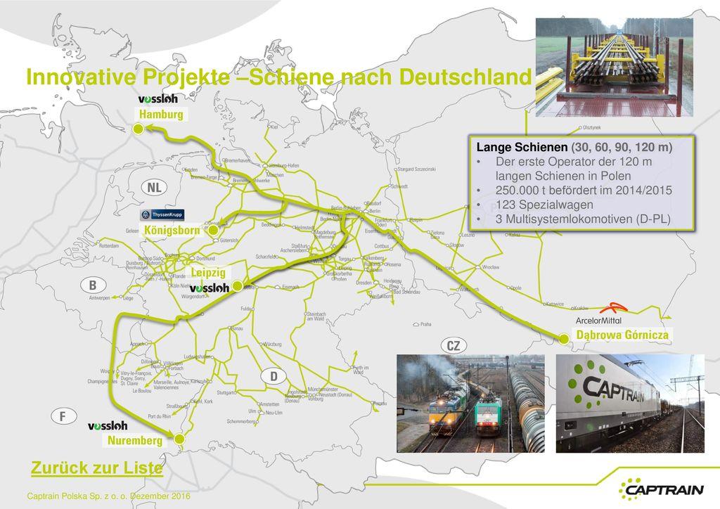 Innovative Projekte –Schiene nach Deutschland