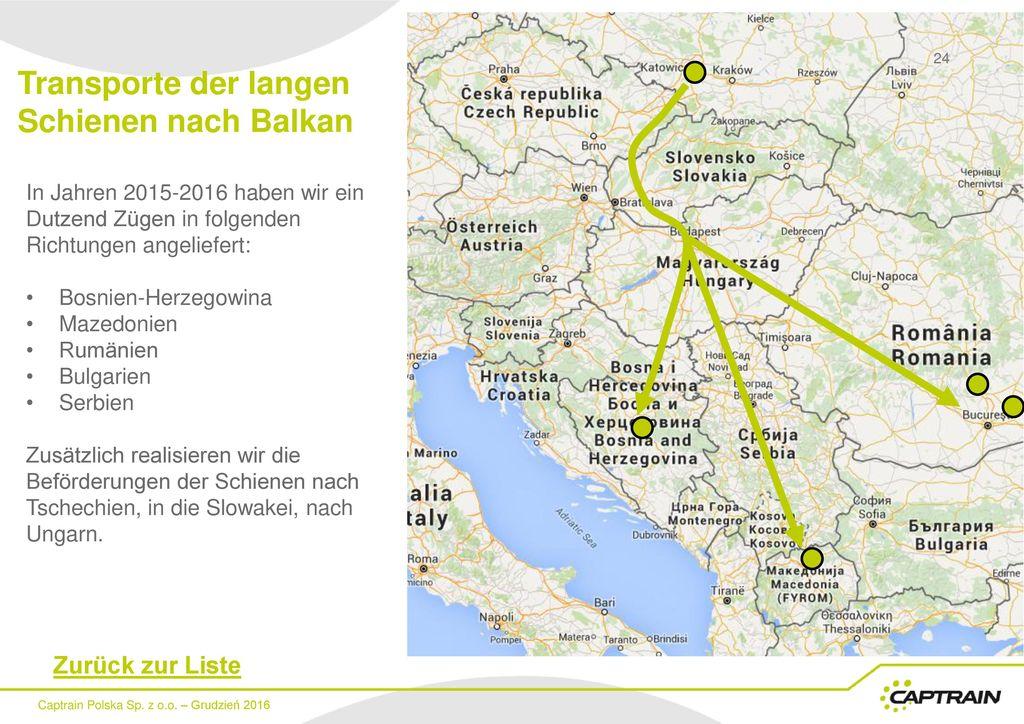 Transporte der langen Schienen nach Balkan