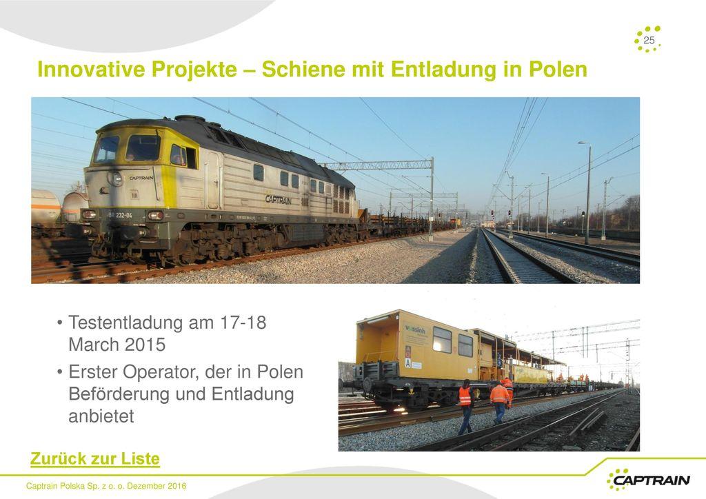 Innovative Projekte – Schiene mit Entladung in Polen