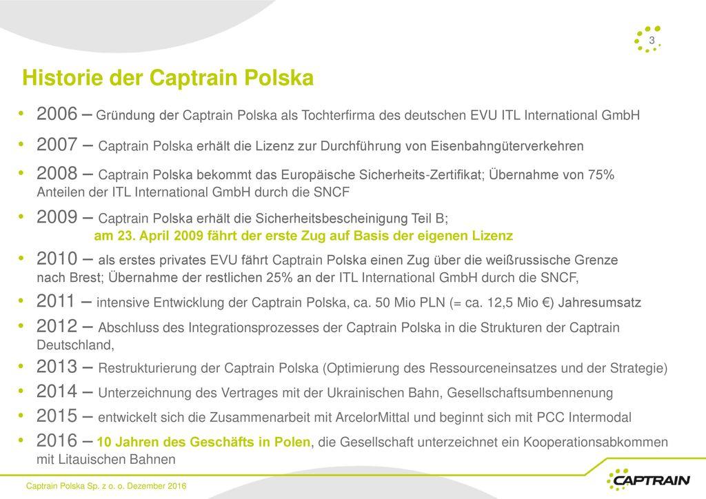 Historie der Captrain Polska