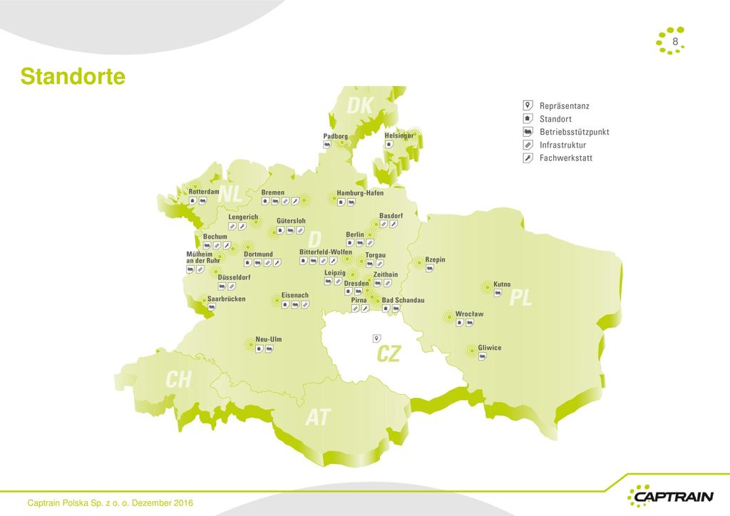 Standorte Captrain Polska Sp. z o. o. Dezember 2016