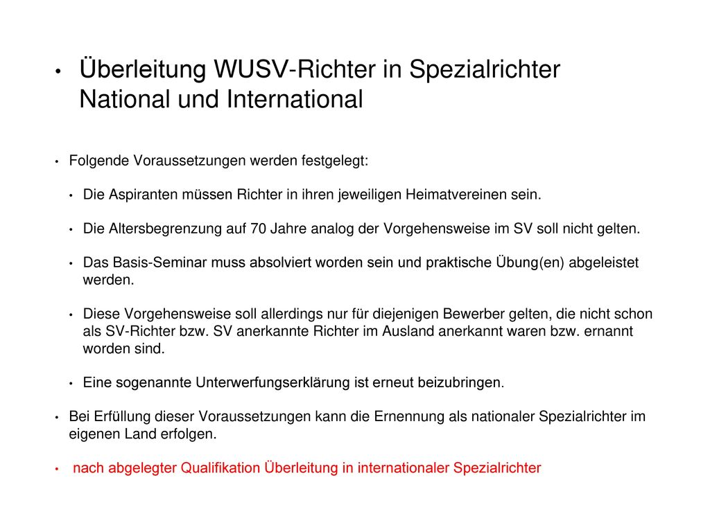 Überleitung WUSV-Richter in Spezialrichter National und International