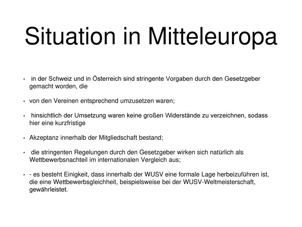 Situation in Mitteleuropa