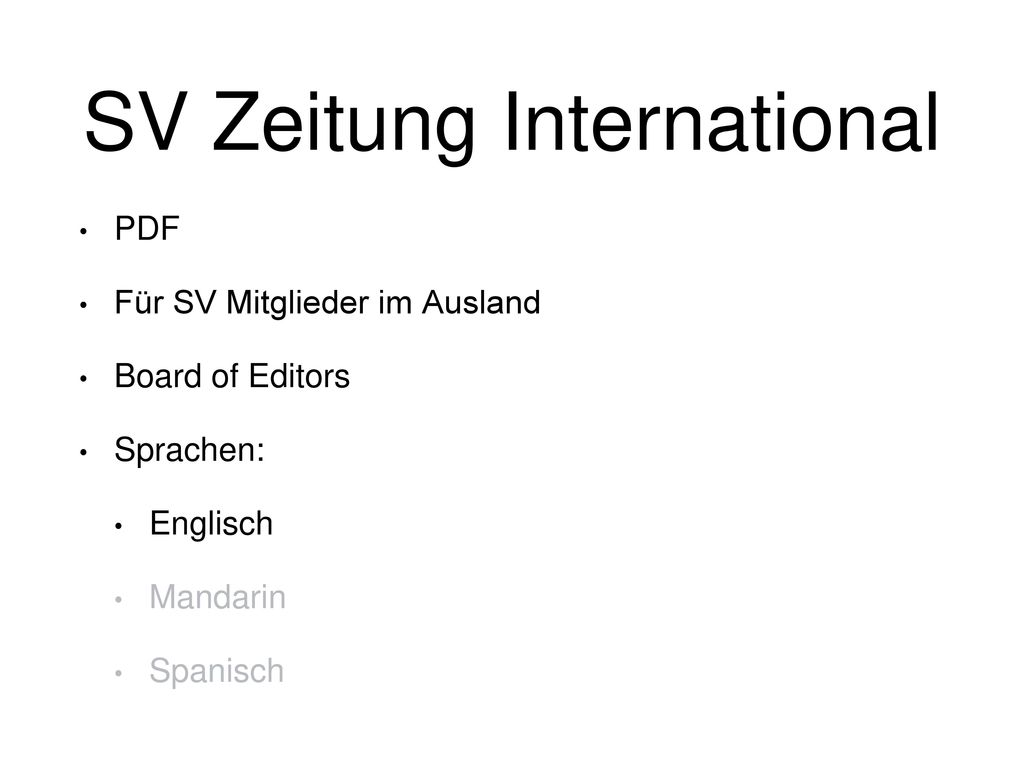 SV Zeitung International