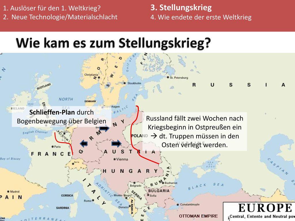 Schlieffen-Plan durch Bogenbewegung über Belgien