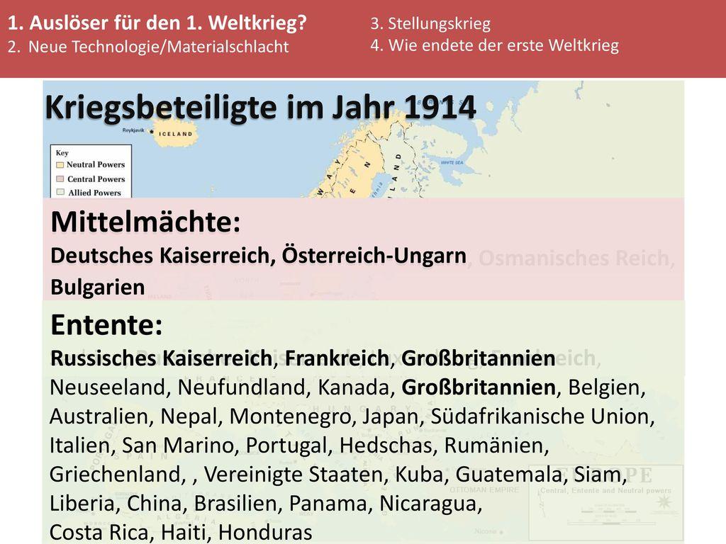 Kriegsbeteiligte im Jahr 1914