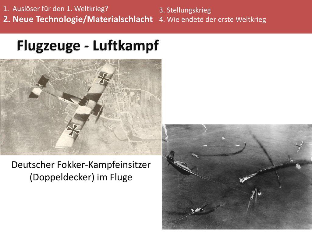 Deutscher Fokker-Kampfeinsitzer (Doppeldecker) im Fluge