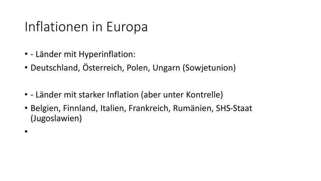 Inflationen in Europa - Länder mit Hyperinflation: