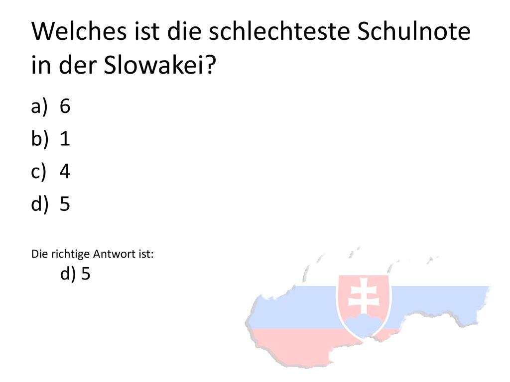 Welches ist die schlechteste Schulnote in der Slowakei