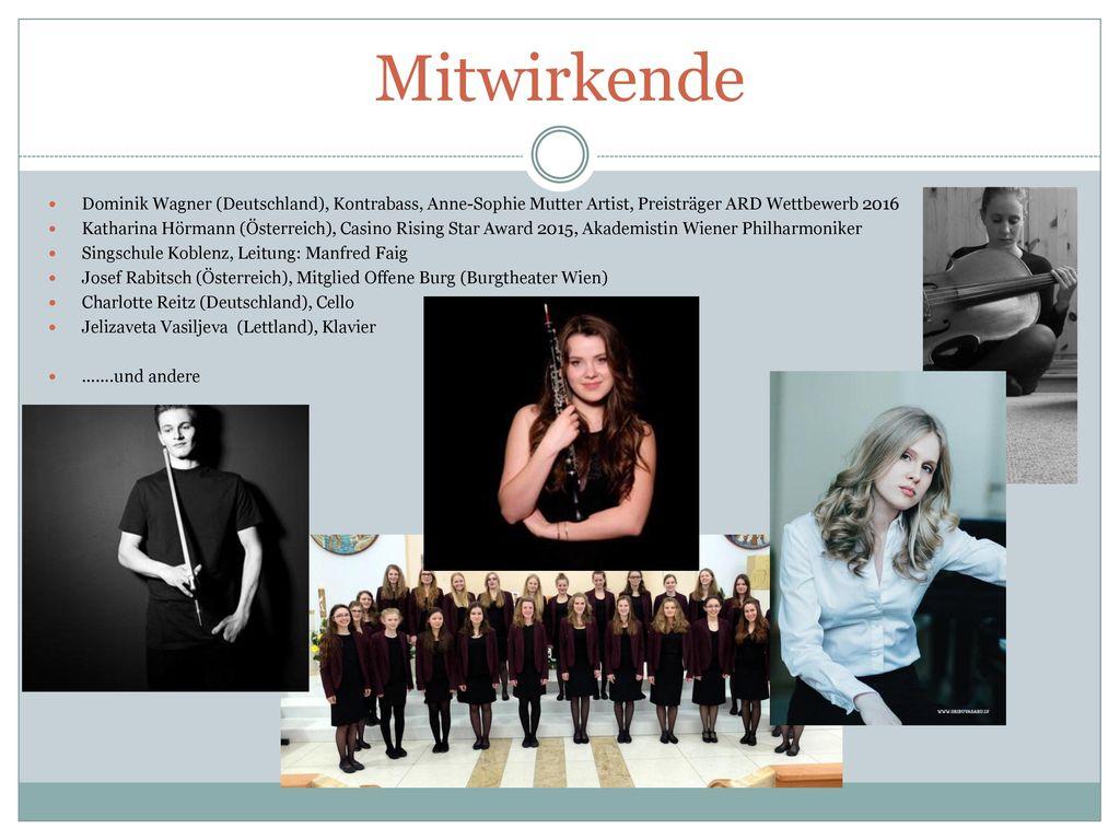 Mitwirkende Dominik Wagner (Deutschland), Kontrabass, Anne-Sophie Mutter Artist, Preisträger ARD Wettbewerb 2016.