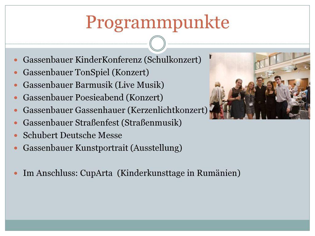 Programmpunkte Gassenbauer KinderKonferenz (Schulkonzert)