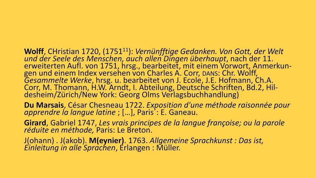 Wolff, CHristian 1720, (175111): Vernünfftige Gedanken