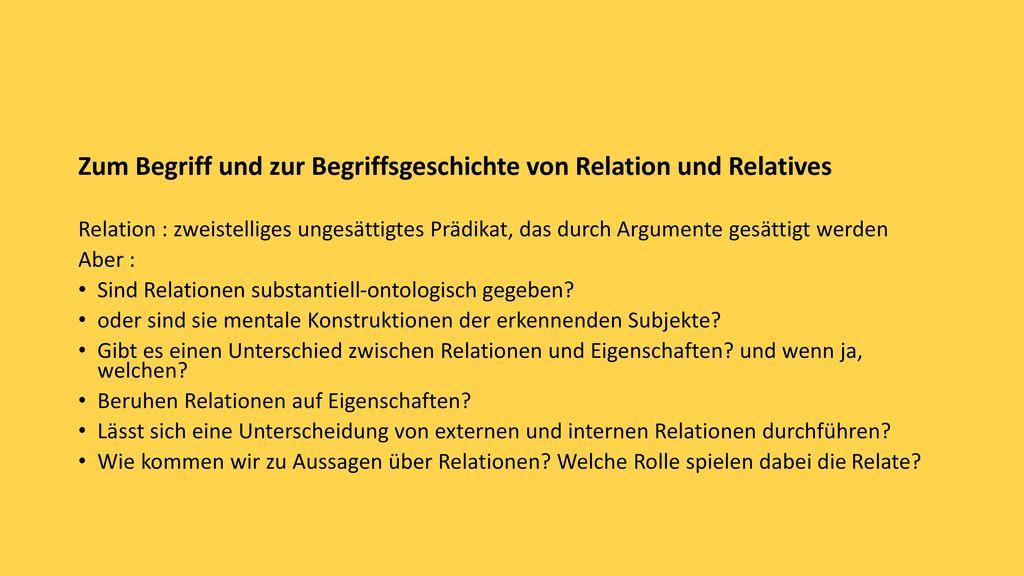 Zum Begriff und zur Begriffsgeschichte von Relation und Relatives