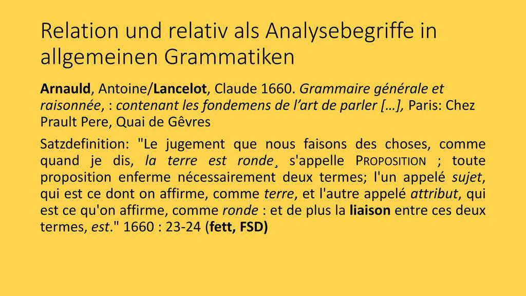 Relation und relativ als Analysebegriffe in allgemeinen Grammatiken
