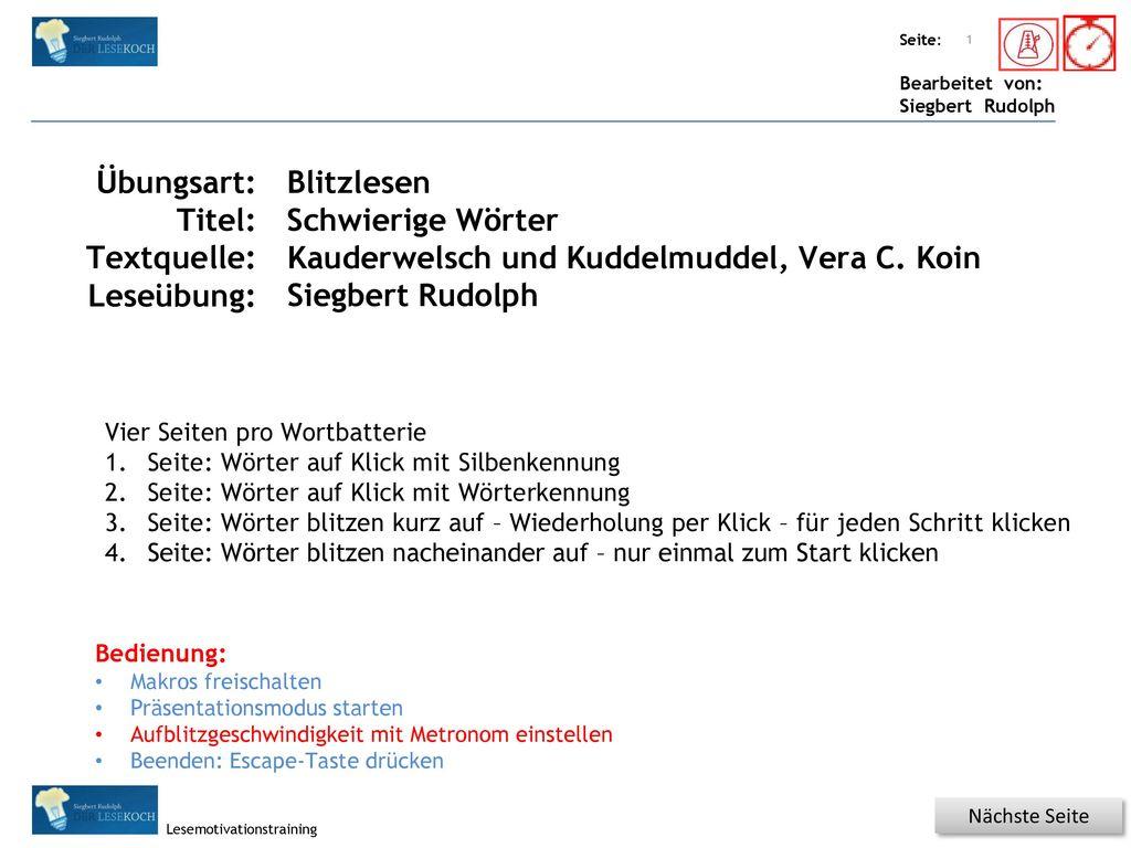 Kauderwelsch und Kuddelmuddel, Vera C. Koin Siegbert Rudolph