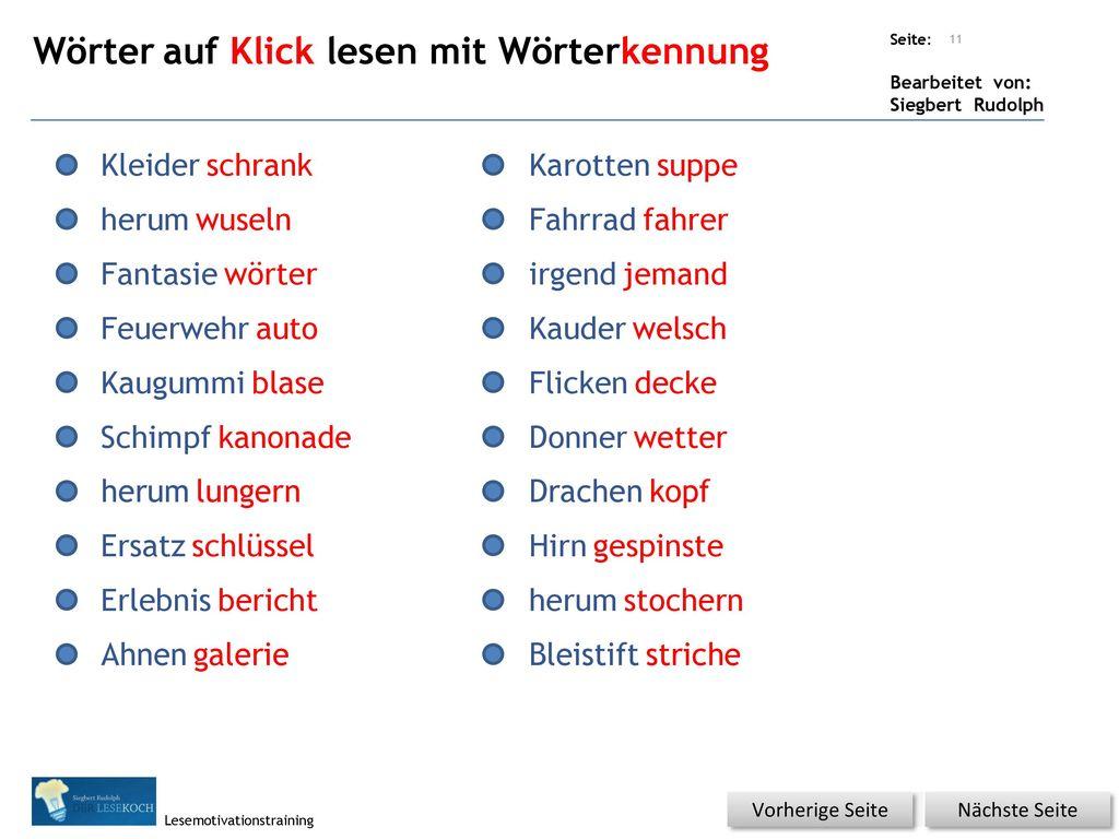 Wörter auf Klick lesen mit Wörterkennung