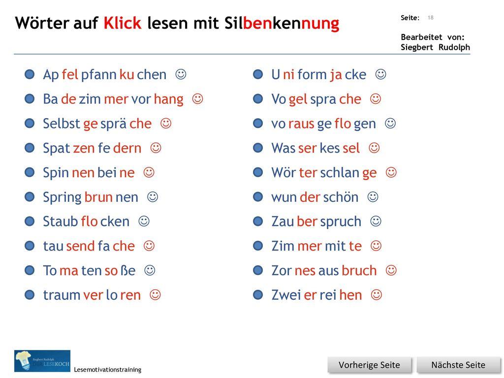 Wörter auf Klick lesen mit Silbenkennung
