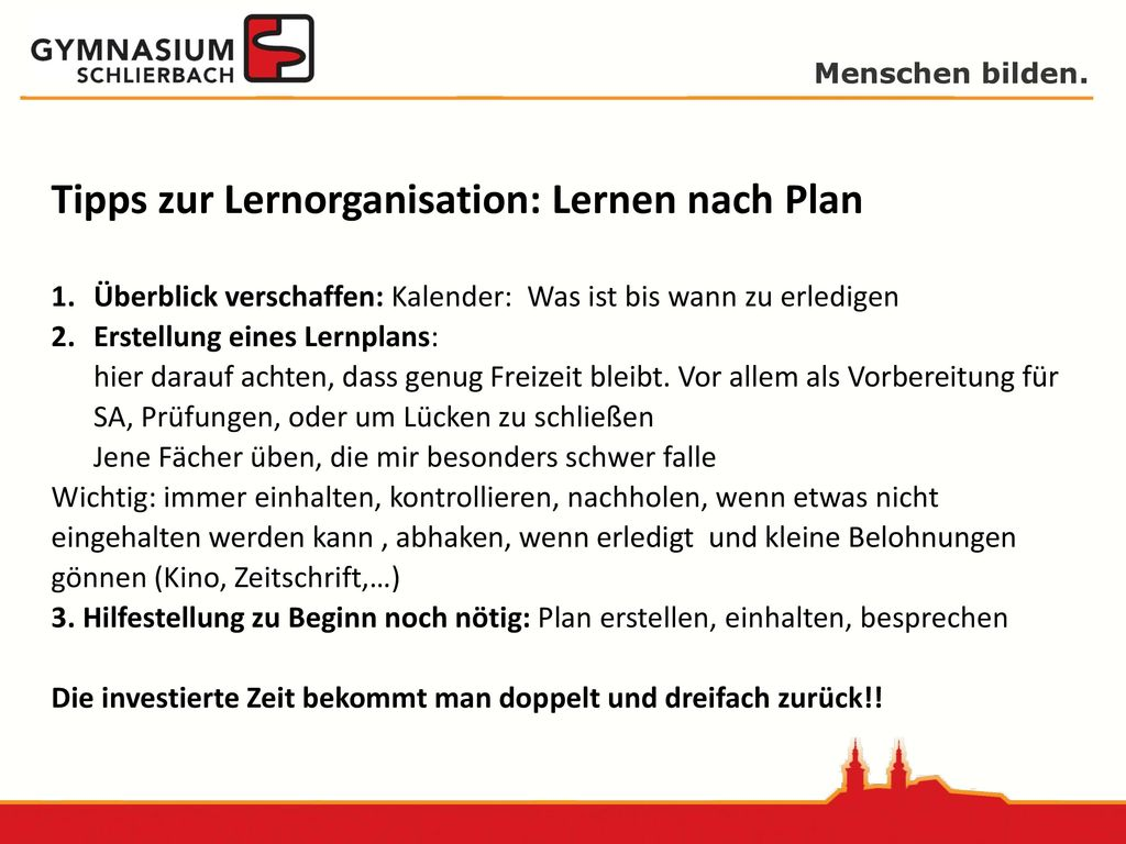 Tipps zur Lernorganisation: Lernen nach Plan