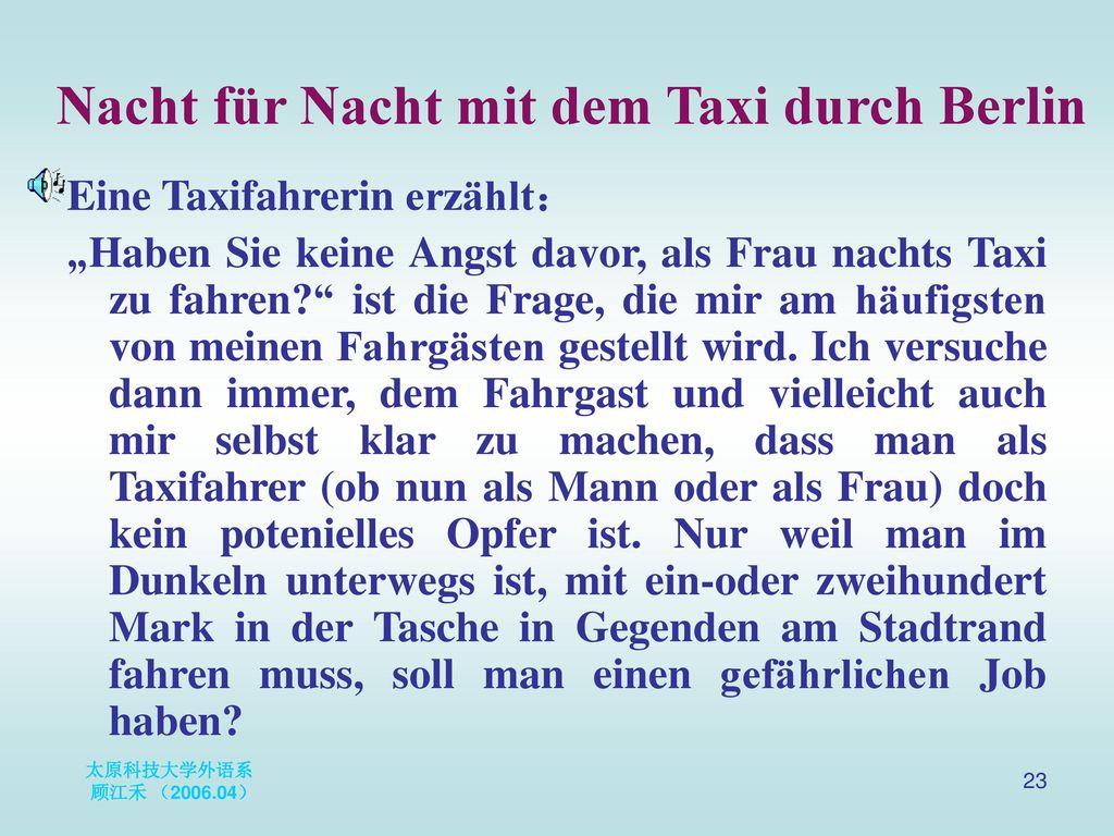 Nacht für Nacht mit dem Taxi durch Berlin