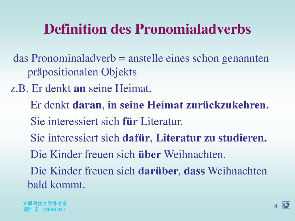 Definition des Pronomialadverbs