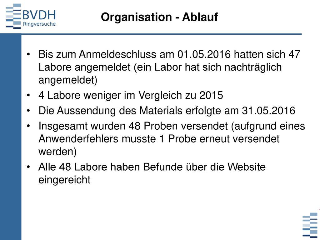 Organisation - Ablauf Bis zum Anmeldeschluss am 01.05.2016 hatten sich 47 Labore angemeldet (ein Labor hat sich nachträglich angemeldet)