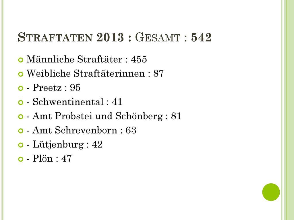 Straftaten 2013 : Gesamt : 542 Männliche Straftäter : 455