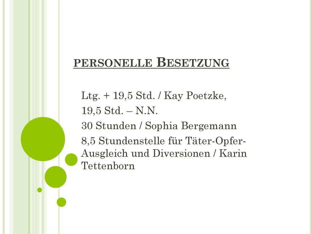 personelle Besetzung Ltg. + 19,5 Std. / Kay Poetzke, 19,5 Std. – N.N.