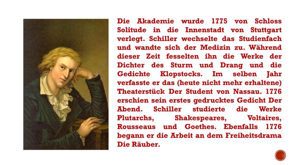 Die Akademie wurde 1775 von Schloss Solitude in die Innenstadt von Stuttgart verlegt.