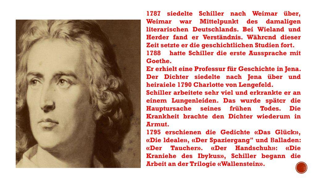 1787 siedelte Schiller nach Weimar über, Weimar war Mittelpunkt des damaligen literarischen Deutschlands. Bei Wieland und Herder fand er Verständnis. Währcnd dieser Zeit setzte er die geschichtlichen Studien fort.