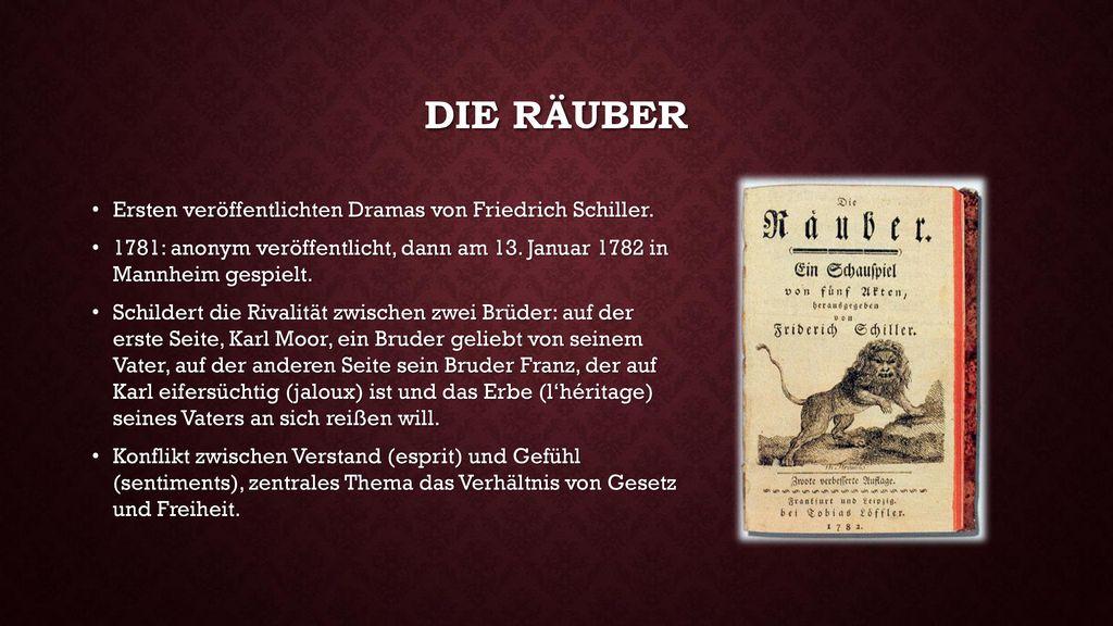 Die räuber Ersten veröffentlichten Dramas von Friedrich Schiller.