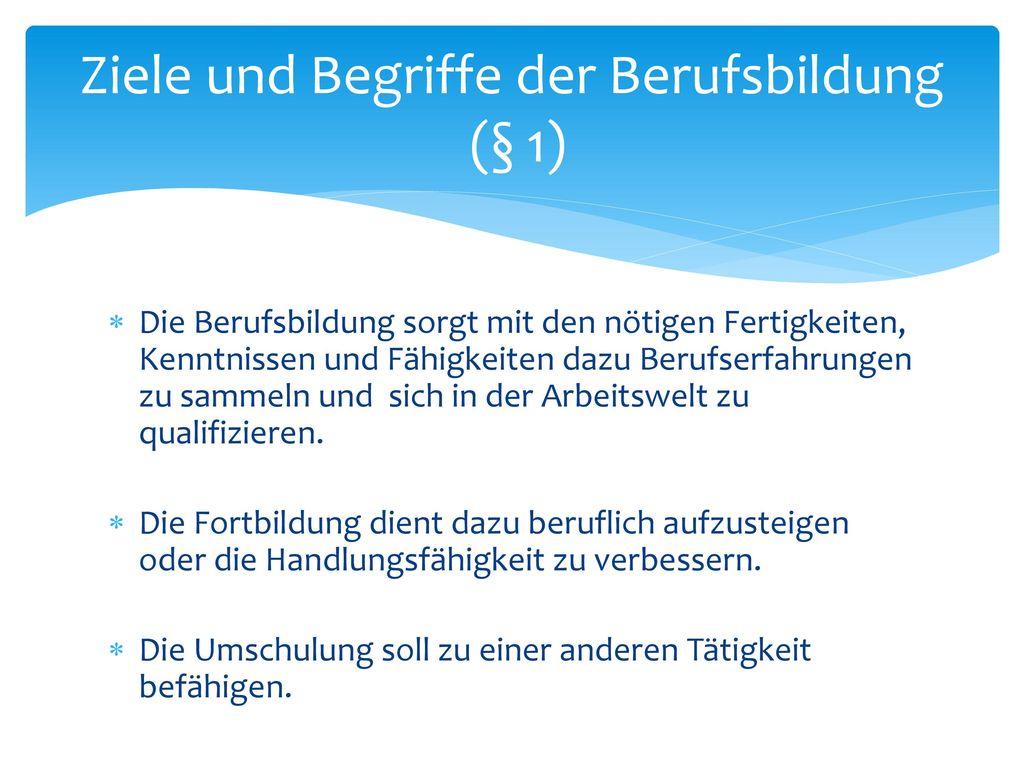 Ziele und Begriffe der Berufsbildung (§ 1)