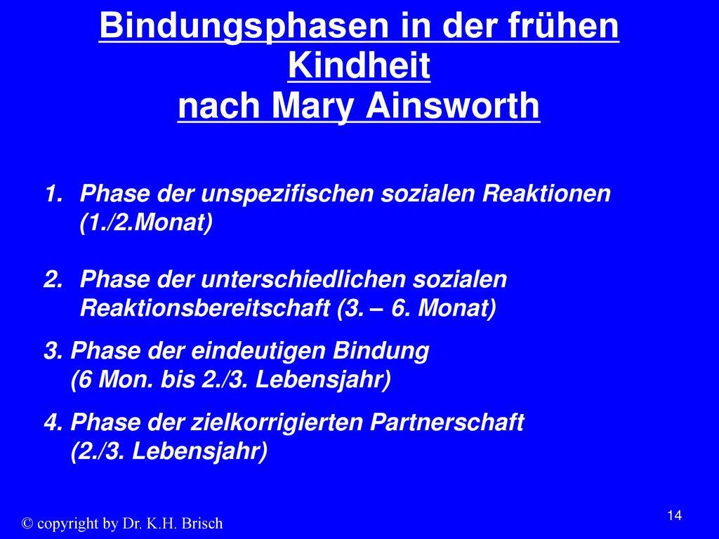 Bindungsphasen in der frühen Kindheit nach Mary Ainsworth