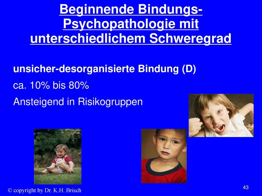 Beginnende Bindungs-Psychopathologie mit unterschiedlichem Schweregrad