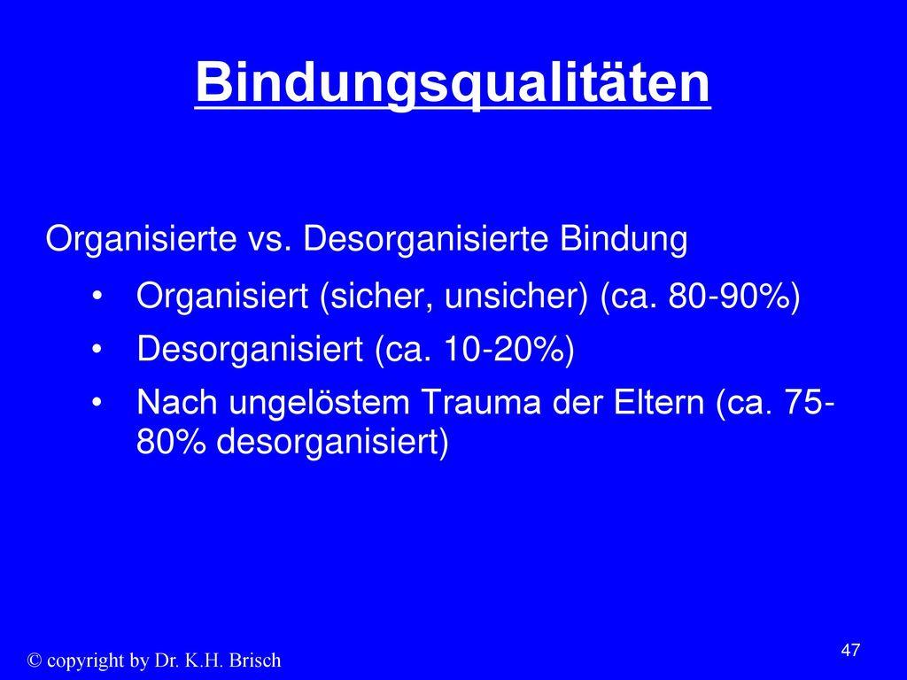 Bindungsqualitäten Organisierte vs. Desorganisierte Bindung