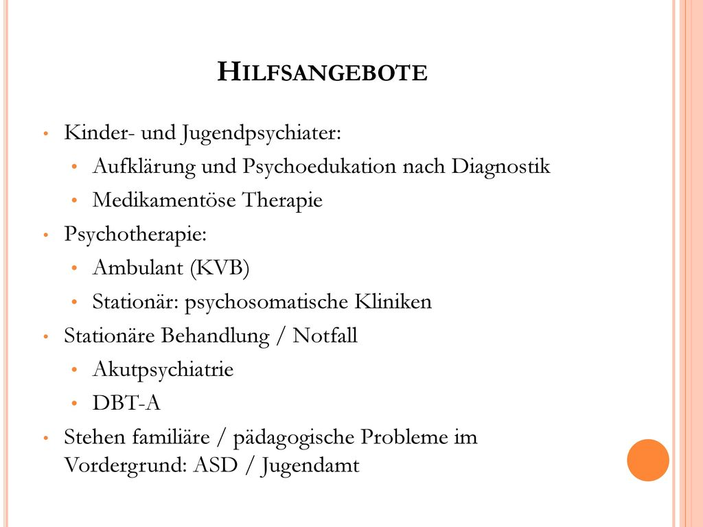 Hilfsangebote Kinder- und Jugendpsychiater: