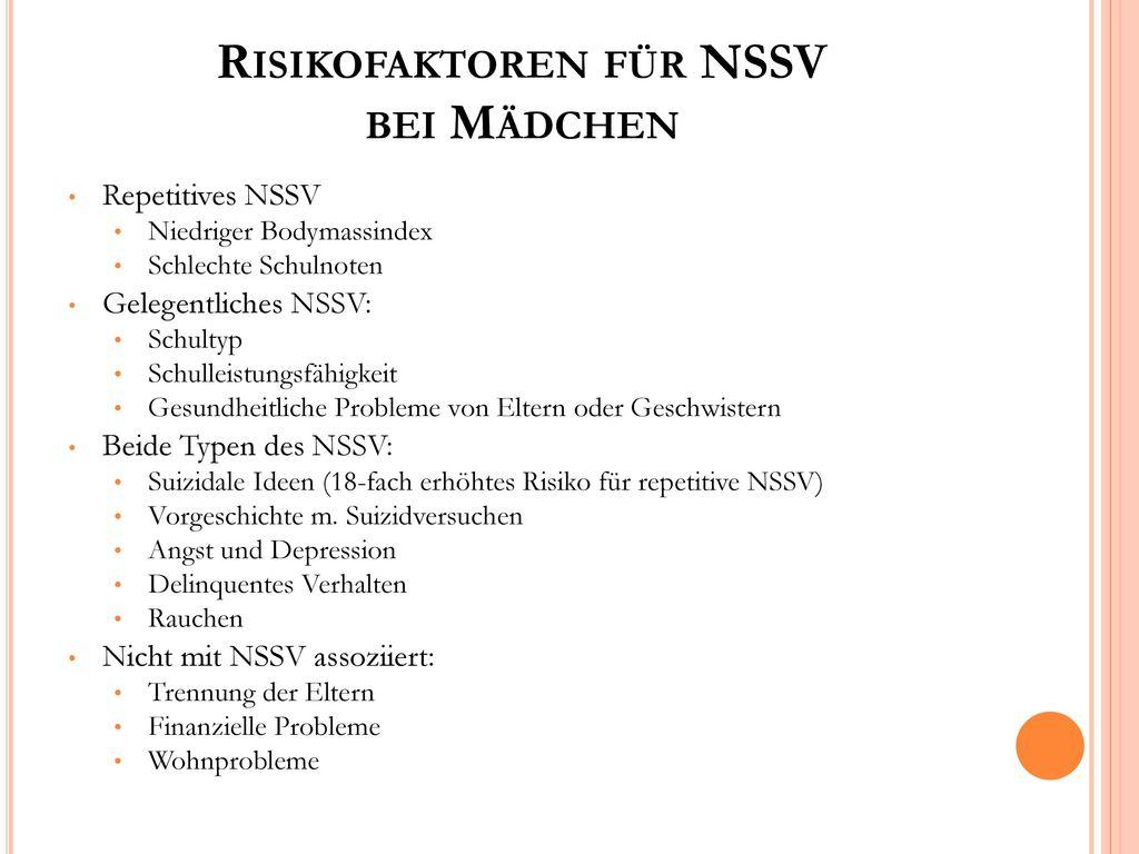Risikofaktoren für NSSV bei Mädchen