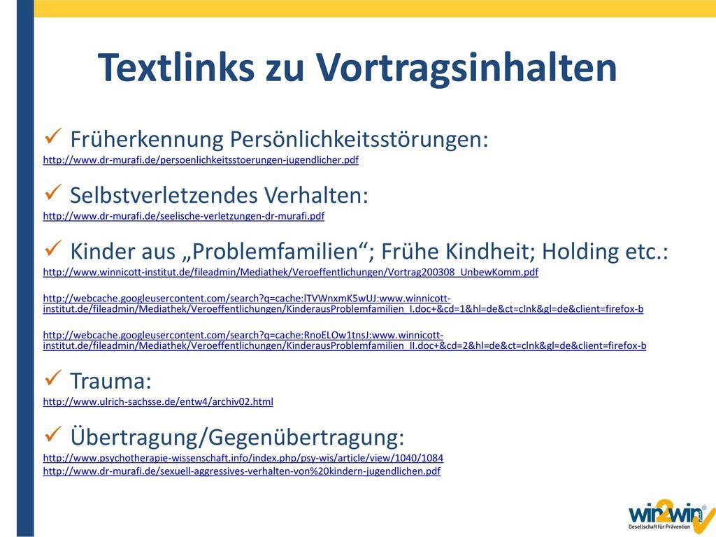 Textlinks zu Vortragsinhalten