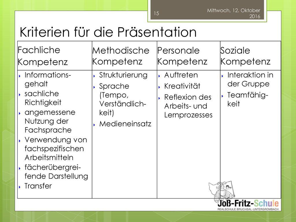 Kriterien für die Präsentation