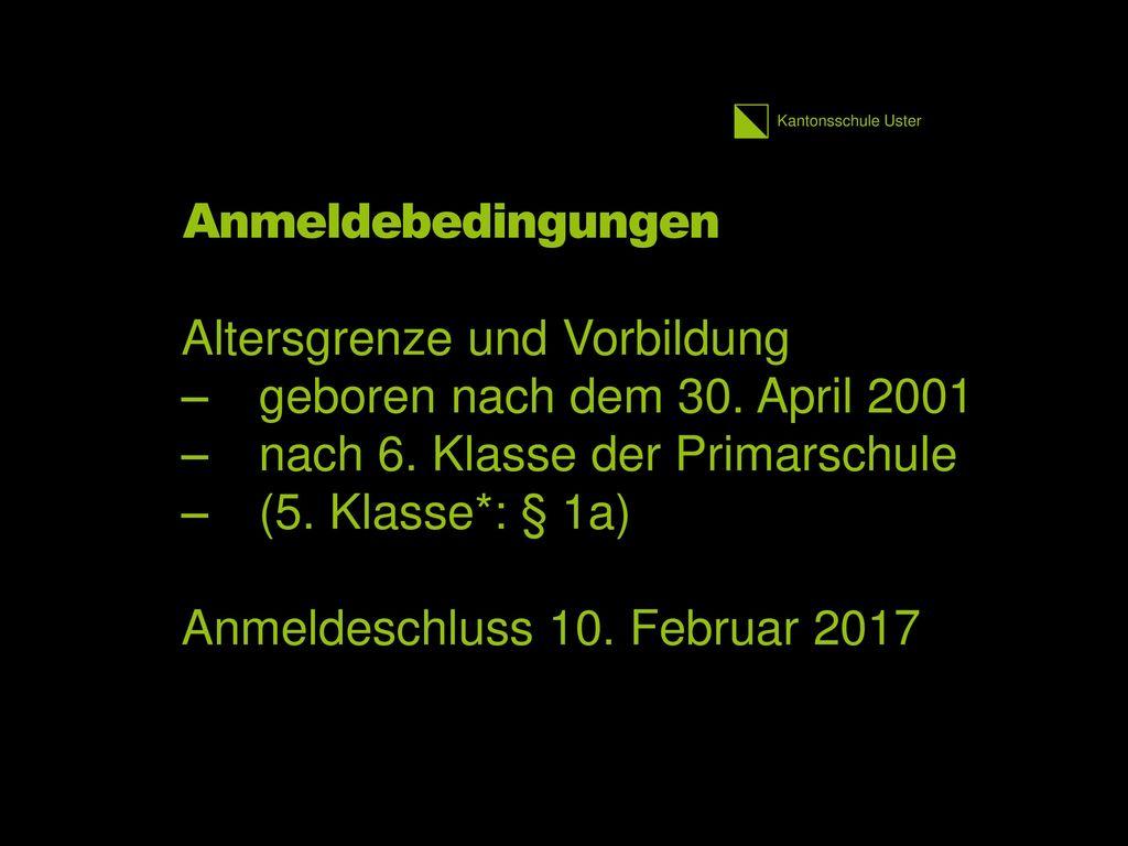 Altersgrenze und Vorbildung geboren nach dem 30. April 2001