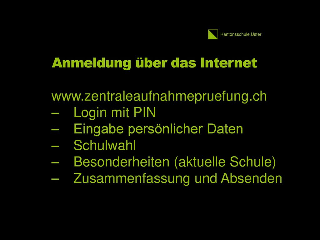 Anmeldung über das Internet