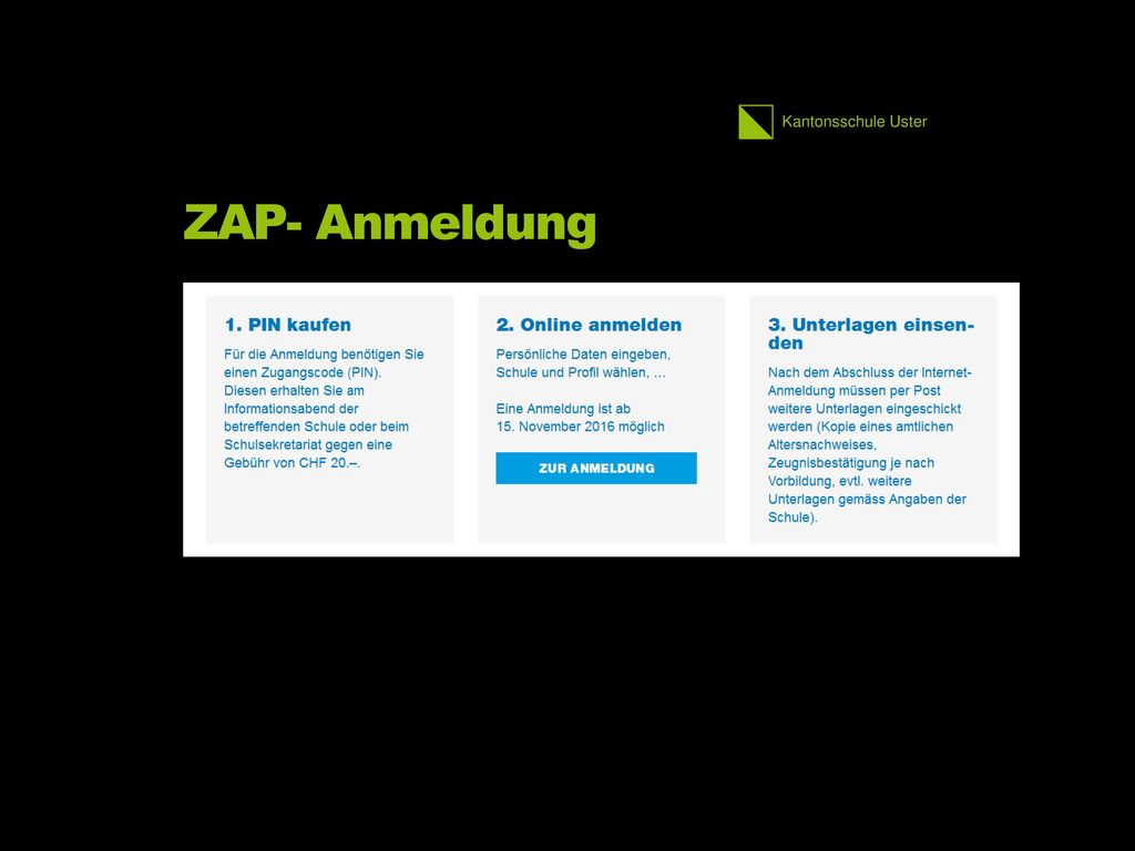 ZAP- Anmeldung 2.